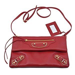 Balenciaga Metallic Edge Leather Envelope Bag